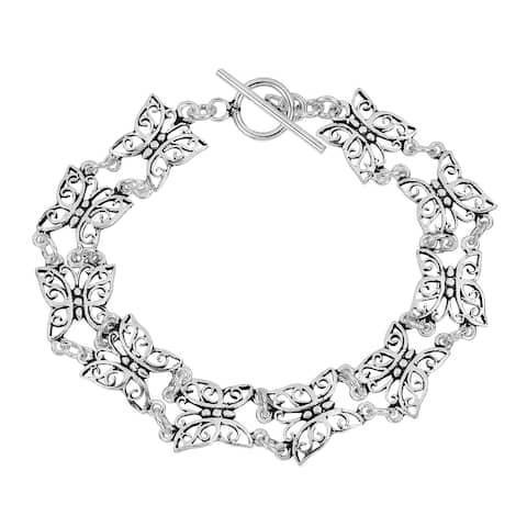 Handmade Sterling Silver Pretty Butterfly Multi Link Bracelet (Thailand)