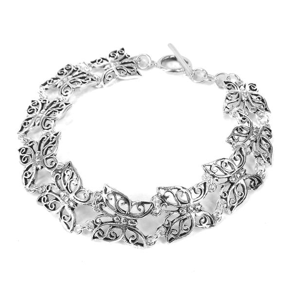Sterling Silver Pretty Butterfly Multi Link Bracelet (Thailand)