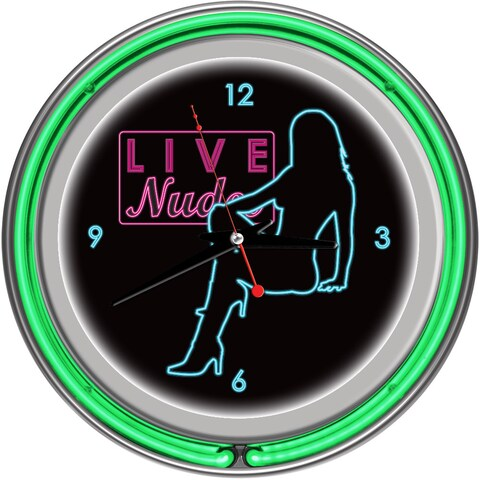 Shadow Babes D Series Two Green Neon Rings Clock