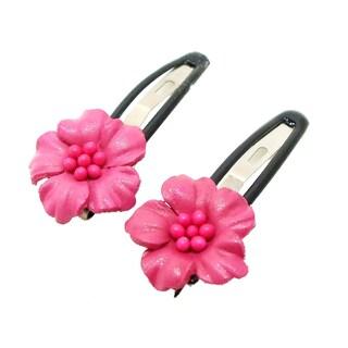Handmade Set of 2 Leather Floral Motif Hair Pinch Clip (Thailand) (Option: Fuschia)