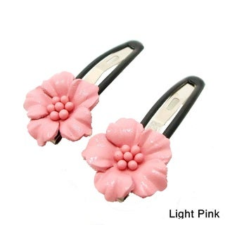 Set of 2 Leather Floral Motif Hair Pinch Clip (Thailand)
