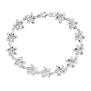 Handmade Sterling Silver Hawaiian Plumeria Link Bracelet (Thailand)