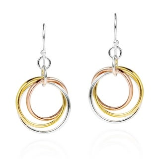 Handmade Sterling Silver Tri Color Hoop Dangle Earrings (Thailand)
