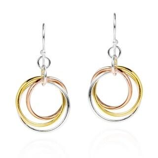 Handmade Sterling Silver Tri Color Hoop Dangle Earrings (Thailand)