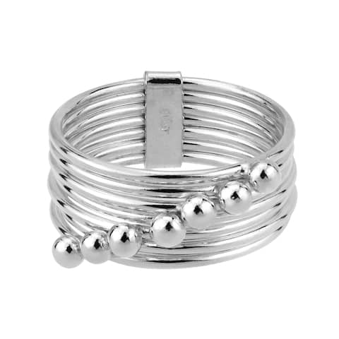 Handmade Moveable Seven Days Connection Bands Sterling Silver Ring (Thailand)