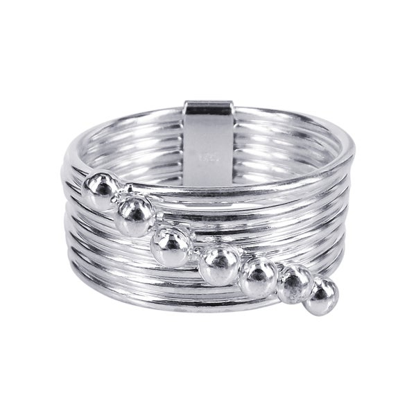 Sterling Silver Moveable Seven Days Connection Bands Ring (Thailand)