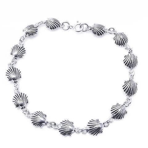 Handmade Sterling Silver Delicate Sea Shell Link Bracelet (Thailand)