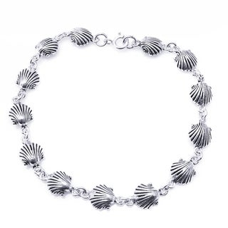 Handmade Sterling Silver Delicate Sea Shell Link Bracelet (Thailand)