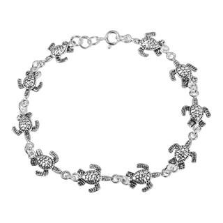 Handmade Sterling Silver Sea Turtles Link Bracelet (Thailand)