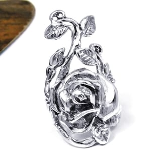 Handmade Sterling Silver Big Rose Flower Leaf Vine Ring (Thailand)