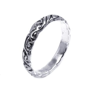 Sterling Silver Everyday Filigree Swirl Band Ring (Thailand)