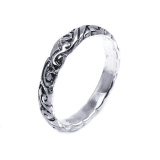 Handmade Sterling Silver Everyday Filigree Swirl Band Ring (Thailand)