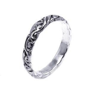 Handmade Sterling Silver Everyday Filigree Swirl Band Ring (Thailand)