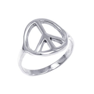Handmade Sterling Silver Shiny Peace Sign 'No War' Ring (Thailand)