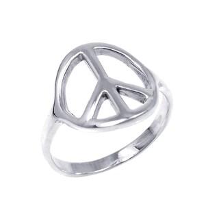 Handmade Silver Shiny Peace Sign 'No War' Ring (Thailand)