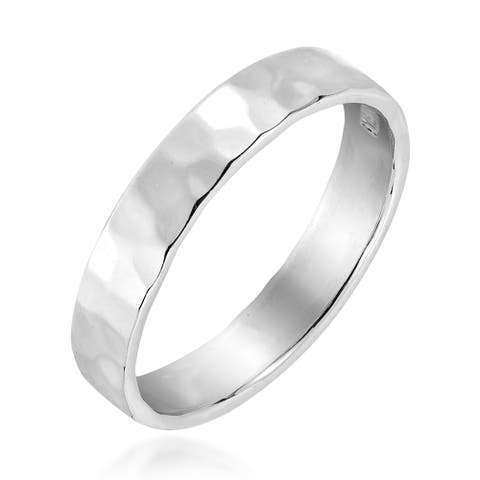 Handmade Hammer Marks Textured Band Sterling Silver Ring (Thailand)