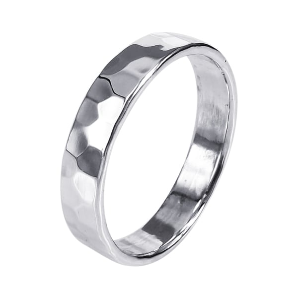 Handmade Sterling Silver Mod Hammered Texture Band Ring Thailand
