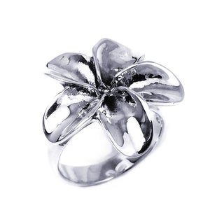 Handmade Sterling Silver Sweet Hawaiian Plumeria Flower Ring (Thailand)