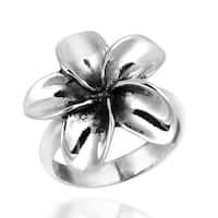 Handmade Sterling Silver Sweet Hawaiian Plumeria Flower Ring (Thailand)