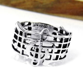 Sterling Silver Musical Notes Treble Clef Band Ring (Thailand)