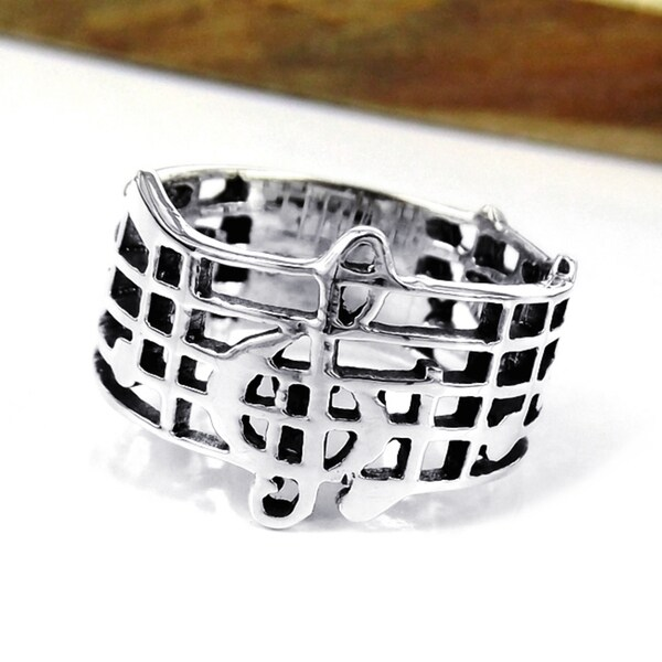 Handmade Sterling Silver Musical Notes Treble Clef Band Ring (Thailand)