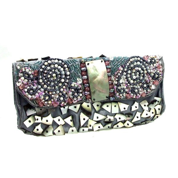 Handmade Exotic Beauty Mix Stone Beaded Clutch (Philippines)