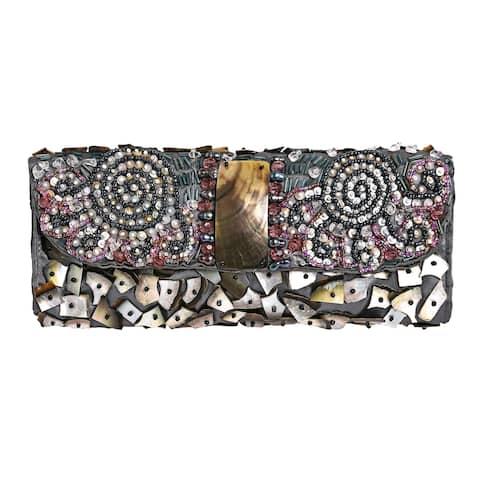 Handmade Exotic Beauty Mix Stone Beaded Clutch (Philippines)