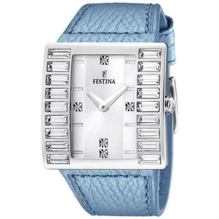 Festina Women's Fashion Silver Dial and Blue Leather Quartz Watch