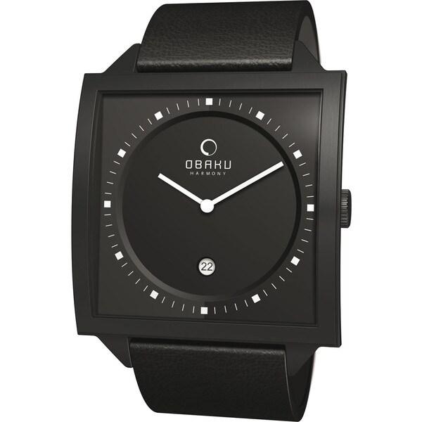 Obaku Men's Black Dial and Black Calf Skin Quartz Watch