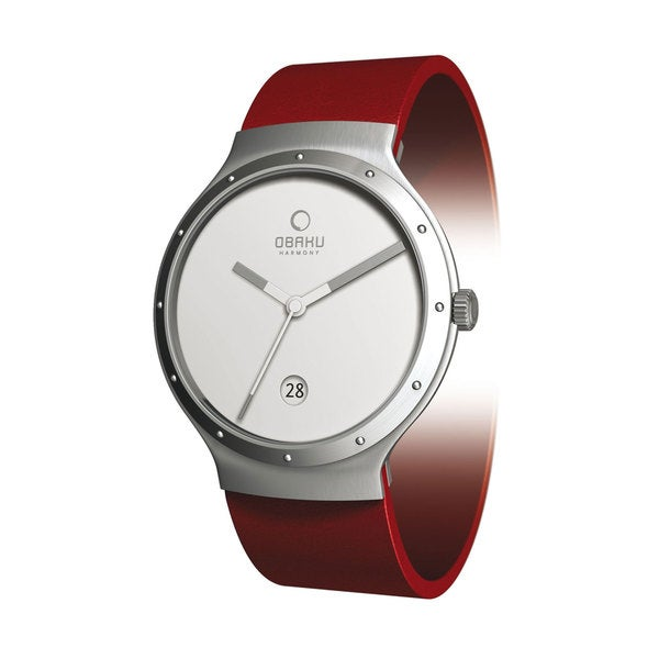 Obaku Women's 'V119LCWRR' Red Leather White Dial Quartz Watch