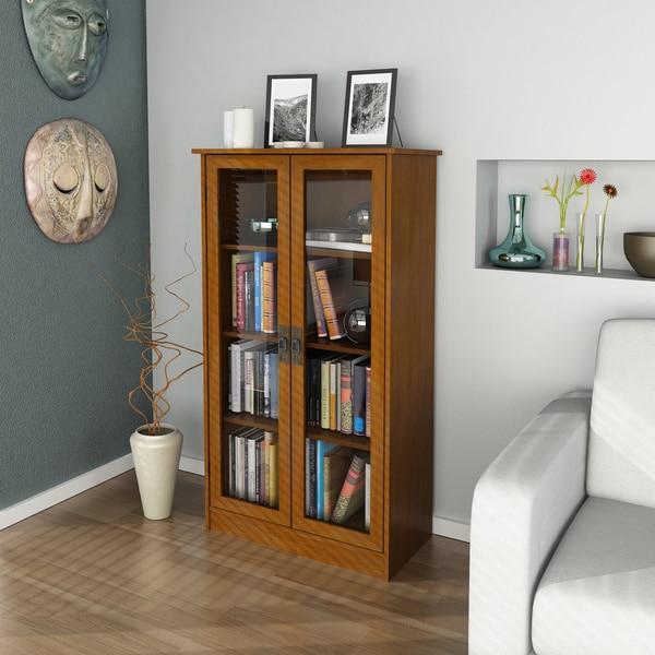 Altra Inspired Cherry Glass Door Bookcase