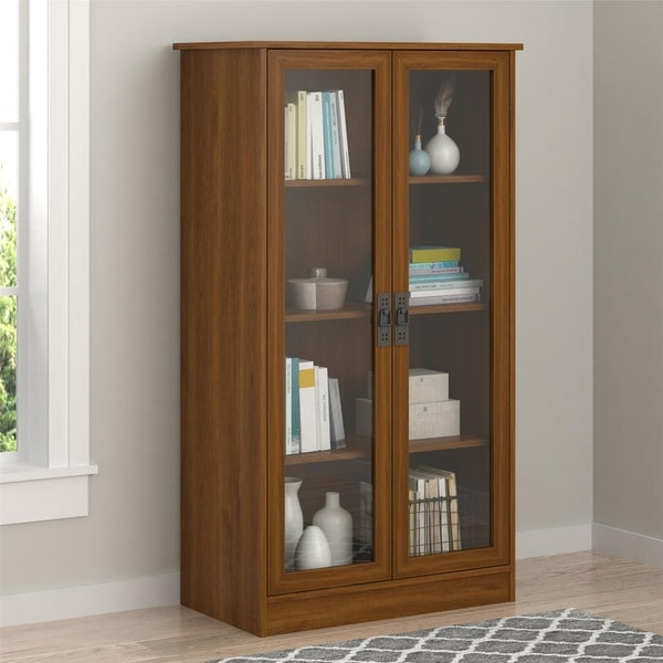 Ameriwood Home Quinton Point Brown Oak Bookcase With Glass Doors