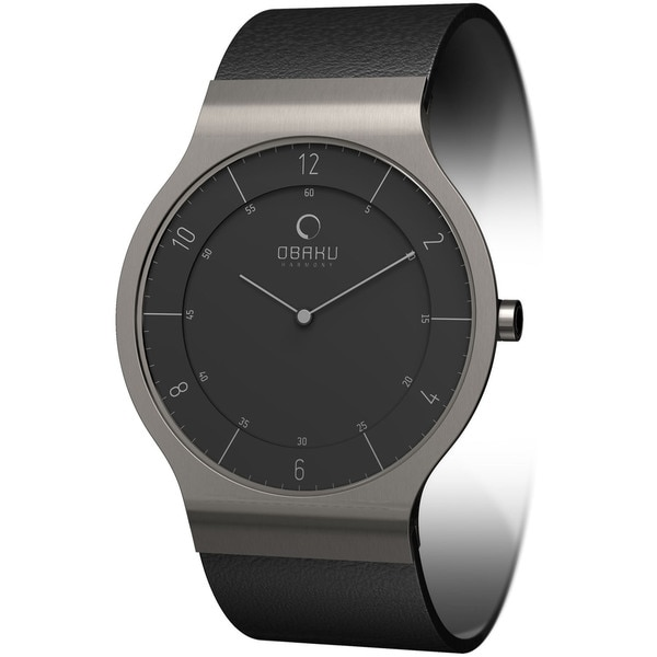 Obaku Women's Black Dial and Black Calf Skin Quartz Watch