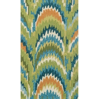 Hand-hooked Blossom Green/ Blue Rug (2'3 x 3'9) - 2'3 x 3'9