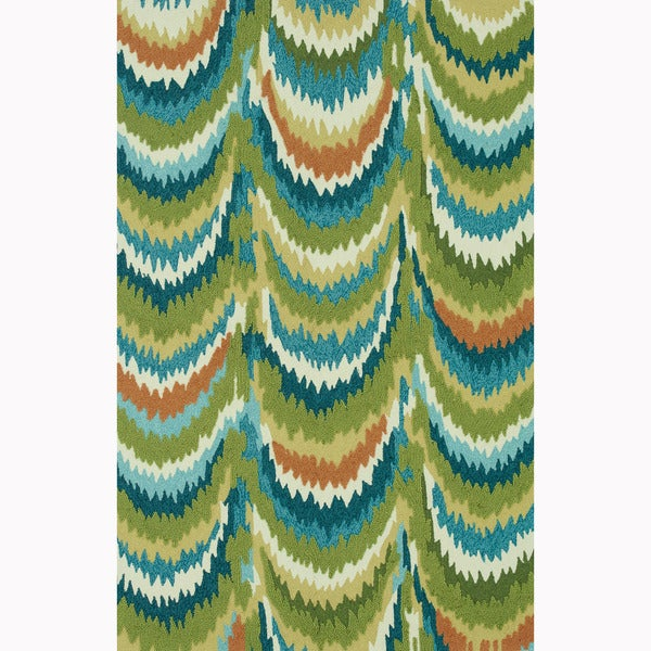 Hand-hooked Blossom Green/ Blue Rug (5'0 x 7'6)