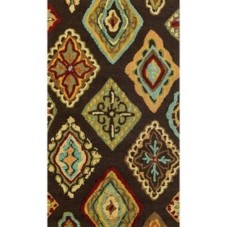 Hand-hooked Blossom Brown/ Multi Rug (2'3 x 3'9)
