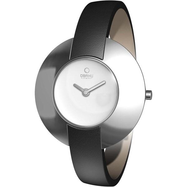 Obaku Women's Silver Dial and Black Calf Skin Quartz Watch