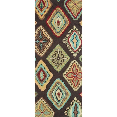 Alexander Home Hand-hooked Diamond Area Rug