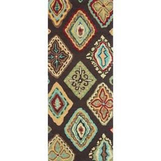 Hand-hooked Blossom Brown/ Multi Rug (2'0 x 5'0)