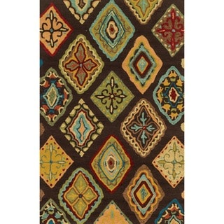 Hand-hooked Blossom Brown/ Multi Rug (3'6 x 5'6)