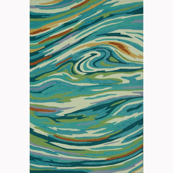 Shop Hand-hooked Blossom Teal/ Multi Rug (5'0 X 7'6
