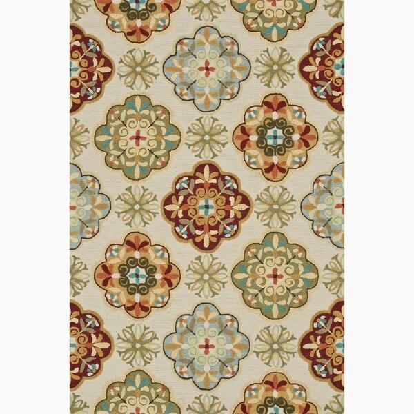 Hand-hooked Blossom Ivory/ Sage Rug (7'6 x 9'6)
