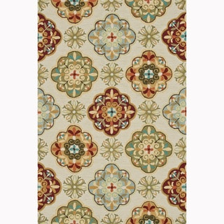 Hand-hooked Blossom Ivory/ Sage Rug (7'6 x 9'6)