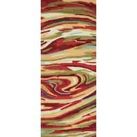 Hand-hooked Blossom Red/ Multi Rug - 2' x 5'