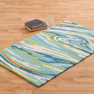 "Hand-hooked Blossom Teal/ Multi Rug (2'3 x 3'9) - 2'3"" x 3'9"""