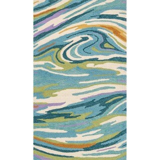 Hand-hooked Blossom Teal/ Multi Rug (2'3 x 3'9) - 2'3 x 3'9