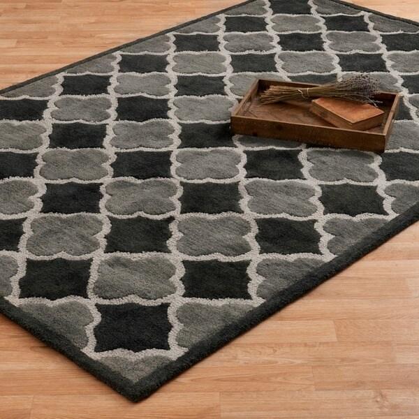 Hand-tufted Logan Black/ Grey Wool Rug - 7'10 x 11'