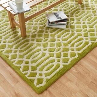 Hand-tufted Logan Apple Green Wool Rug (3'6 x 5'6)