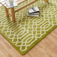 Hand-tufted Logan Apple Green Wool Rug - 3'6 x 5'6