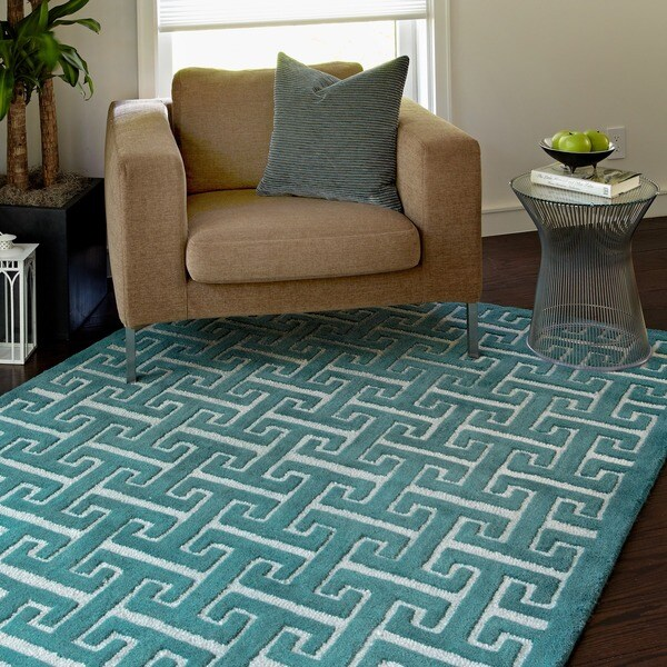 Shop Hand-tufted Contemporary Teal Trellis Wool Rug